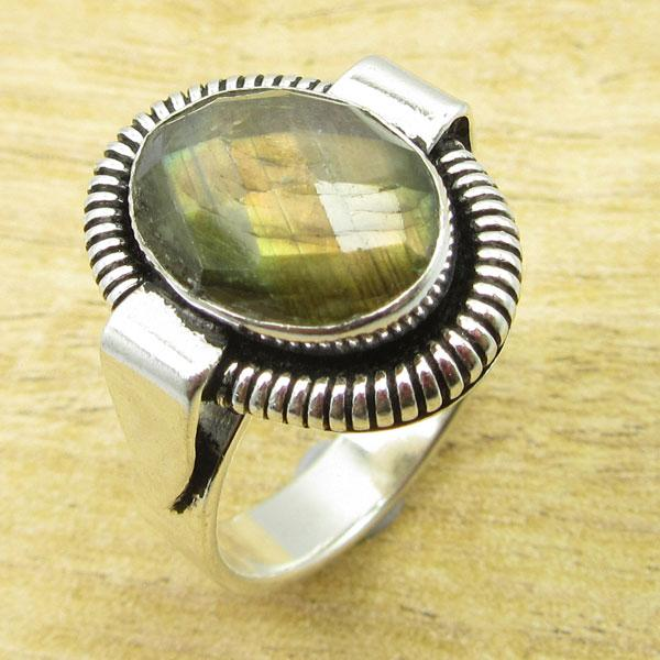 Silver Plated Fancy LABRADORITE ARTISAN Ring Size 9.25 GIFT FOR LOVED ONES