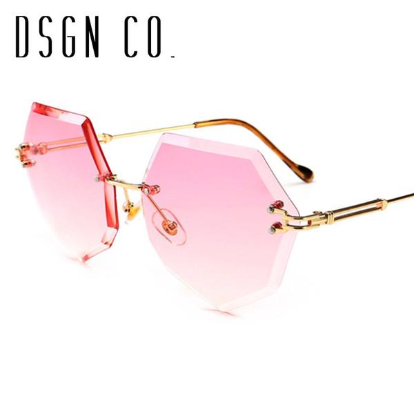 DSGN CO. 2018 Elegante Elegante Moda Óculos De Sol Para As Mulheres Elegante Marca de Moda Sem Aro 8 Cor de Luxo Óculos de Sol UV400