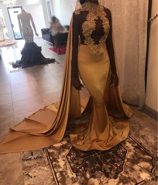 2k18 Black Girls Dark High Neck Gold Mermaid Long Prom Dresses with shawl Lace Applique Formal Party Evening Dresses Night Wear Custom Made