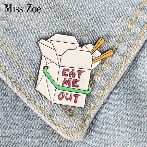 caja de comida rápida de la historieta pin de esmalte CÓMAME broches insignia del botón de regalo para los amigos de la solapa de la joyería pin bolsa tapón de ropa jeans
