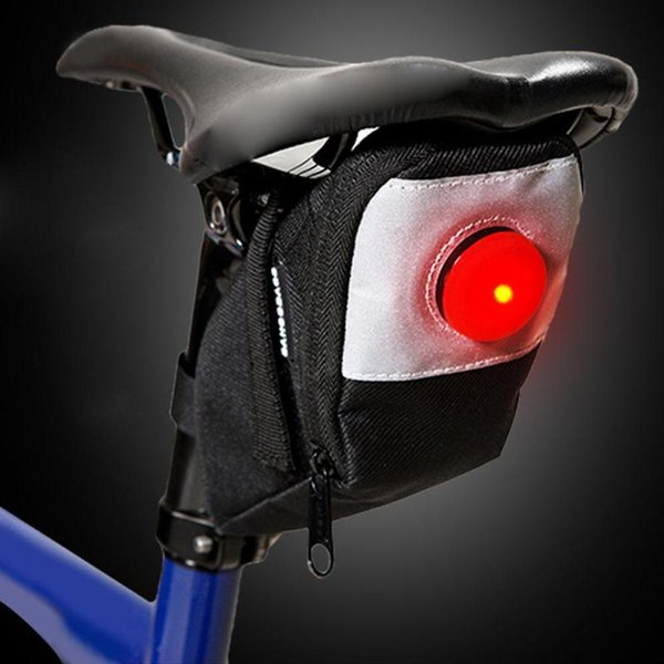 Waterproof Bicycle Bag Rear Seat Pouch Mountain Cycling Saddle Seatpost Tail Pouch Bike Saddle Bag with Warning Light