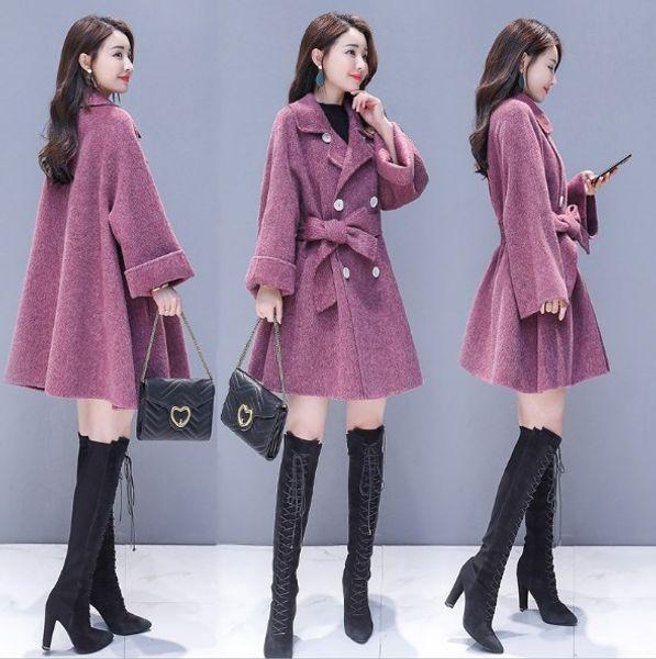 Cloak Style Women Double Breasted Cape Trench Coat Purple Grey Long Vintage Womens Coat Batwing Sleeve Fashion Overcoat Outwear