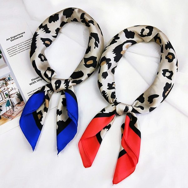 70*70cm Multifunction Silk Scarf Sexy Contrast Color Leopard Printed Small Square Wrap Head Scarves For Women Clothing Accessory