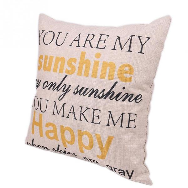 Top Sunshine heureux Lin Jeté Housse de coussin taie d/'oreiller taille Maison Canapé Décor