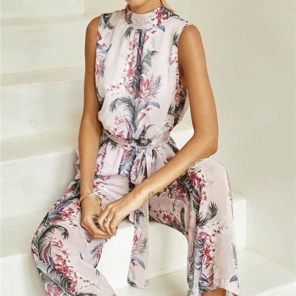2018 New Fashion Women Floral Printed Jumpsuits Sexy Backless Sleeveless Long Beach Halter Chiffon Wide Leg