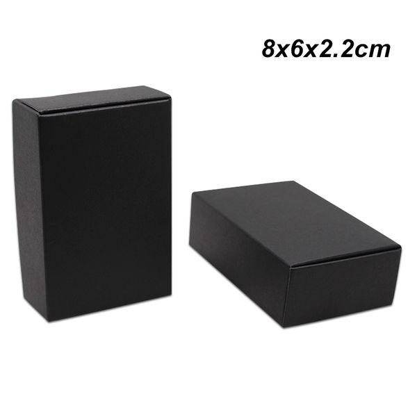 8x6x2.2 см 50 шт. крафт-бумага черный ящик подарочная упаковка коробка для ювелирных и