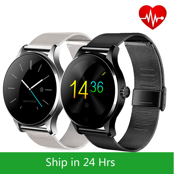 top popular Metal SmartWatch Fitness tracker Heart Rate Monitor Compatible Android IOS Phone Remote Camera Round super slim Waterproof K88H smart watch 2020