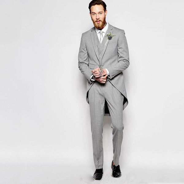 Elegent Grey Tailcoat Groom Tuxedos Men Suits for Wedding Long Jacket Vintage Groomsmen Suits 3 Pieces Pants Vest Bridegroom Morning Dinner