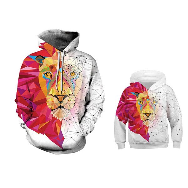 Matching Family Clothing Autumn Winter Hoodie Father Son Mother Daughter Matching Outfits Sweatshirts Hat Hoody Colorful Lion