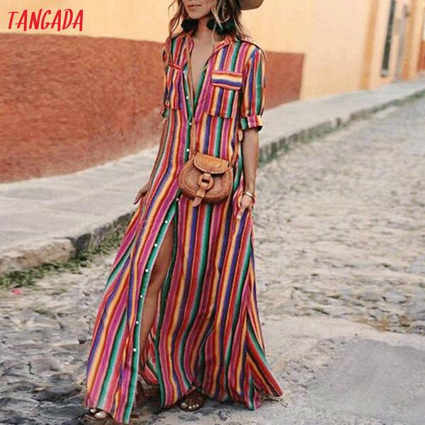 Tangada women maxi dress striped retro boho style 2018 autumn long shirt dress party female elegant plus size XXXL aon47