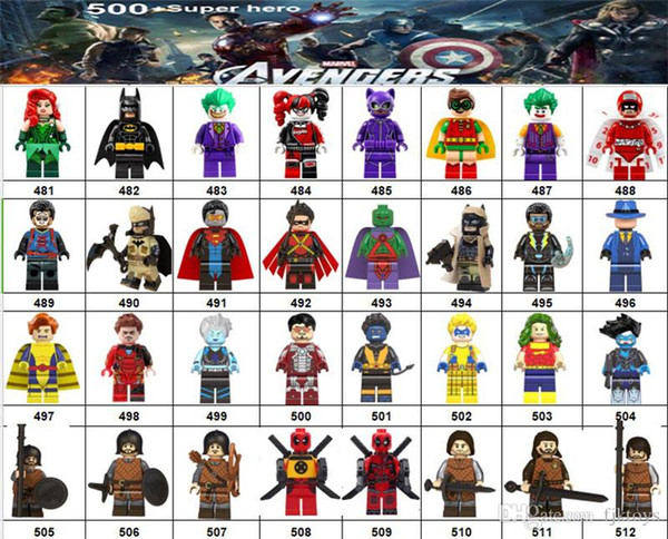 Wholsale Super hero Mini Figures Marvel Avengers DC Justice League Wonder woman Spiderman Ironman Black Panther building blocks kids gifts