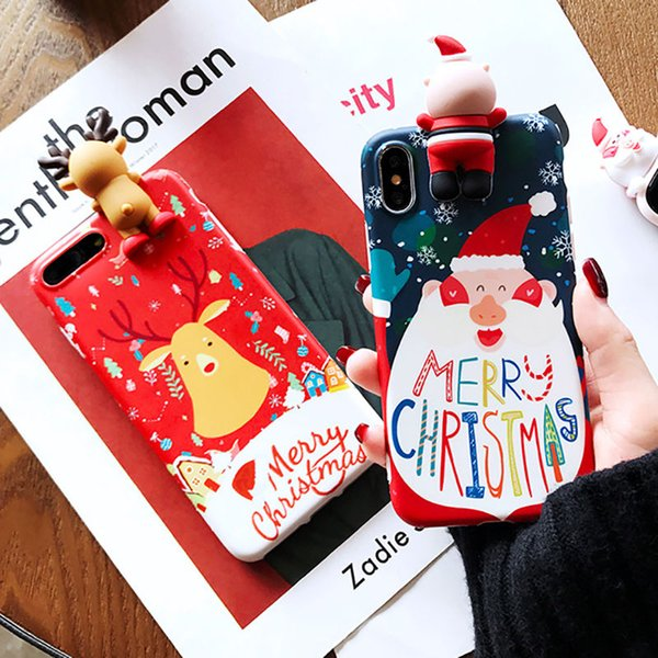 YunRT 3D Doll Christmas Snowman Gift Cute Phone Case For iPhone X XS XR XS Max 6 6S 7 8Plus Christmas Deer Cartoon Soft Back Cover