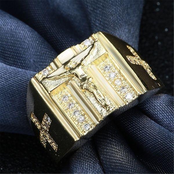 18 K позолоченные хип-хоп Святой Крест перстень молитва христианин Иисус золотые кольца белый куб цирконий обручальное кольцо AD0937