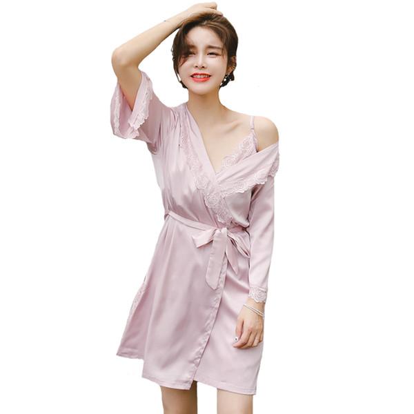 Summer Pink Chinese Bride Bridesmaid Wedding Robe Set Women Satin 2 PCS Nighty&Robe Home Wear Floral Trim Sleepwear Negligee
