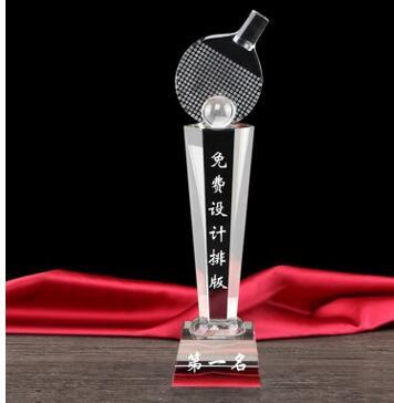 Hexagonal column table tennis crystal trophy sports competition prizes
