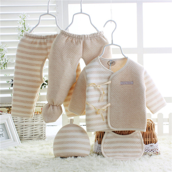 5PCS Newborn Clothing Warm Striped Baby Boys Girls Clothes 100% Color Organic Cotton Super Soft Inc 1 Top 2 Pants 1 Bib And 1 Hat