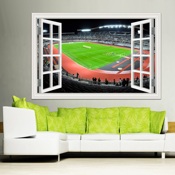 Hohe Qualität 3d Wandaufkleber Soccor Spielplatz Decals Removable 3D Fenster View World Cup Wandtattoo für Wohnkultur Tapete