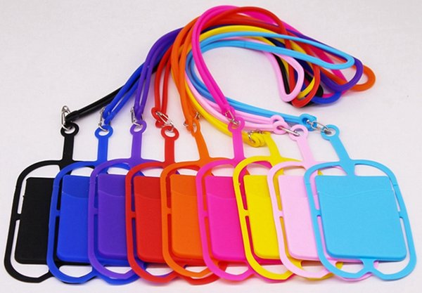 10 Colors Silicone Lanyards Neck Strap Necklace Sling Card Holder Strap for Universal Mobile Cell Phone With Opp Bag Package