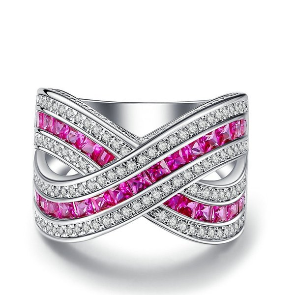 роскошный розовый красный квадрат кубического циркония серебряный цвет ювелирные изделия кольцо коктейль работает для женщин