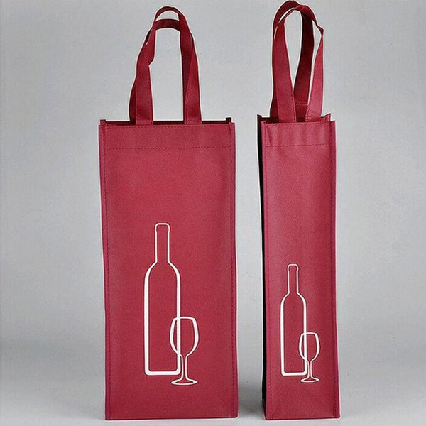 100pcs Portable Non-woven Fabric Red Wine Storage Bag For One/Double Bottles Wine Package Gift Party Packing Handbags ZA3538