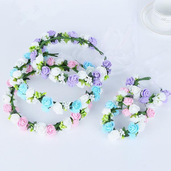 Handmade Beautiful Textile Material Bride Colorful Artificial Flowers Hawaii Floral Crown Bridal Hair Accessory Hawaii Headband