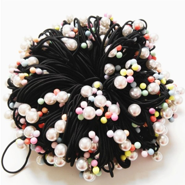 20pcs Knotted Pearl Nylon Headbands Ponytail holders bows Elastic Hair Ties For Girls Children Hair Accessories