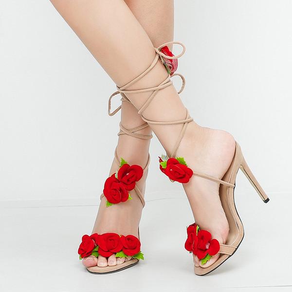 Rose rouge fleurs talons hauts sandales taille 43 talons hauts sandales talons nus sandales femmes Concise suède fête pompe chaussures femme