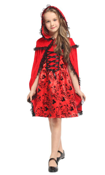 Shanghai Story Halloween Red Girls Costumes for Girls Christmas Carnival Masquerade Children Cosplay Clothes Kids Red Dress