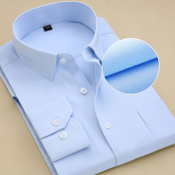 Solid Color Blue Classical Design Formal Men Dress Shirts Long Sleeve Plain / Twill Business Men Work Shirts With Chest Pocket