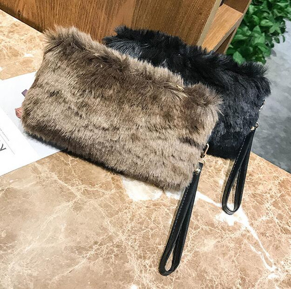 2018 women lady new autumn winter fur plush leather evening bag mobile phone coin purse fashion hand-made fur small bag purse wallet