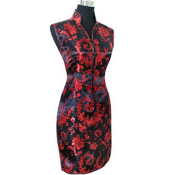 Black Red Chinese Women's Silk Cheongsam Sexy Mini Qipao Evening Party Gown Dress Totem&Flower Size S M L XL XXL XXXL S028-B