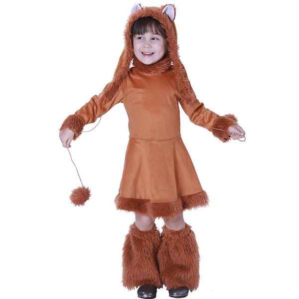 Costume da carnevale di Halloween Costume da animaletto per bambini Little Fox Children Dress Hat Boots Set completo Kids Cute Performance Costume Dress