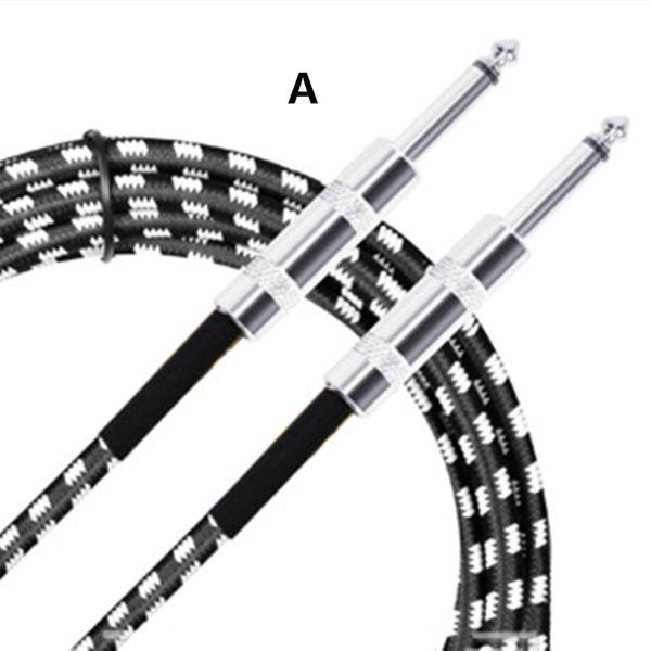 Cable conector de audio para guitarra eléctrica Accesorios para instrumentos musicales Mono 6.35mm Macho A Macho Cable de altavoz Cable trenzado negro YS-208