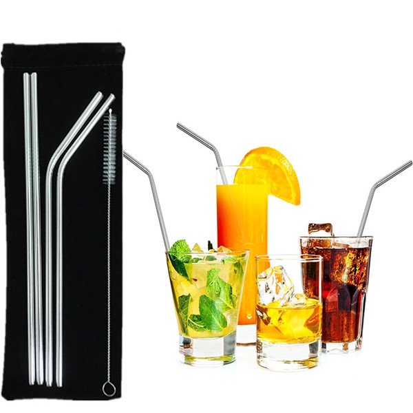 top popular Stainless Steel Drinking Straws with Cleaning Brushes 304 Eco Friendly Free Collocation Set Reusable Straight Bent Metal Straw for Bar Party 2020