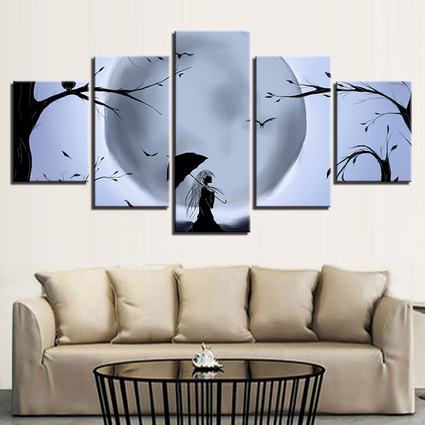 Anime Pictures HD Printed Wall Art 5 Pieces Moon Bird Tree Umbrella Night View Canvas Painting Modular Poster Home Decor Framed