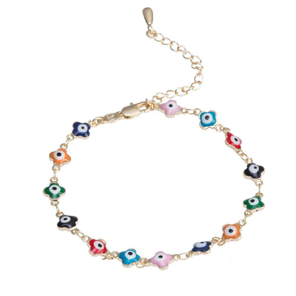 DreamBell New Women Gold Color Unique Ladies Colorful Hollow-out Design Bracelet Delicate Casual Hand Chain