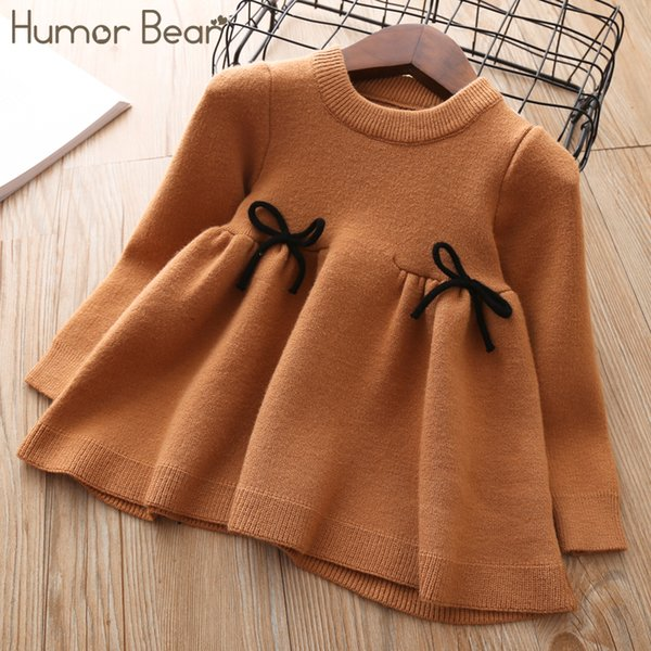 Humor Bear 2018 Nre Otoño Invierno Niñas Vestido de suéter Ropa de niños Niños Niños Suéter traje para niñas knitt