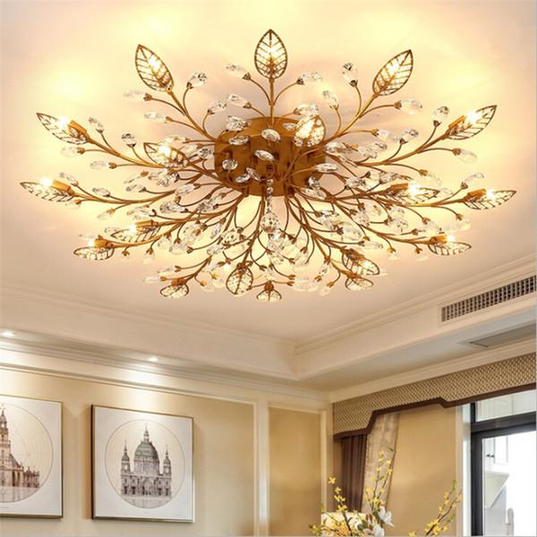 Modern K9 Crystal LED Flush Mount Ceiling Chandelier Lights Fixture Gold  Black Home Lamps for Bedroom Kitchen Living Room