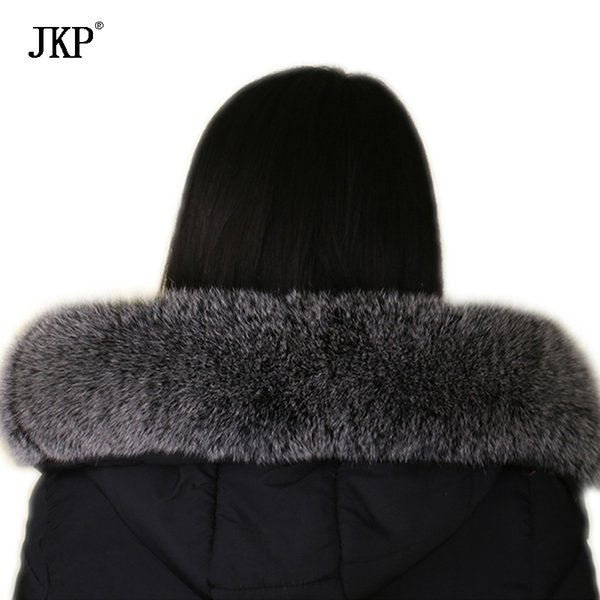 Winter Real fox fur collar Black frost color Genuine oversized fur collar Scarf