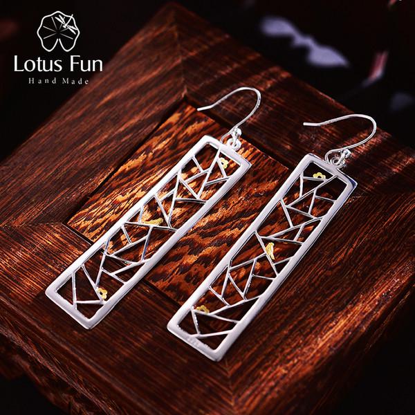 Lotus Fun Real 925 Sterling Silver Handmade Fine Jewelry Oriental Element Window Decoration Paper-cut Design Dangle Earrings S18101207