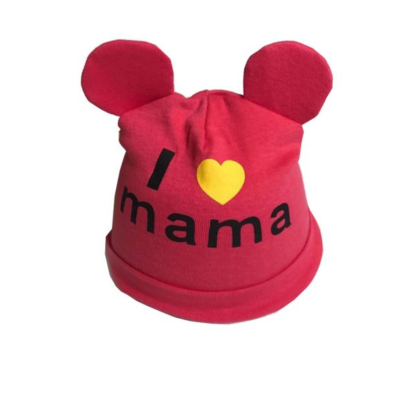 Baby Boys Girls Hat Newborn Baby bear ear Skullies Love mama print Caps Hats For Girls Knitted Beanies Apparel Accessories