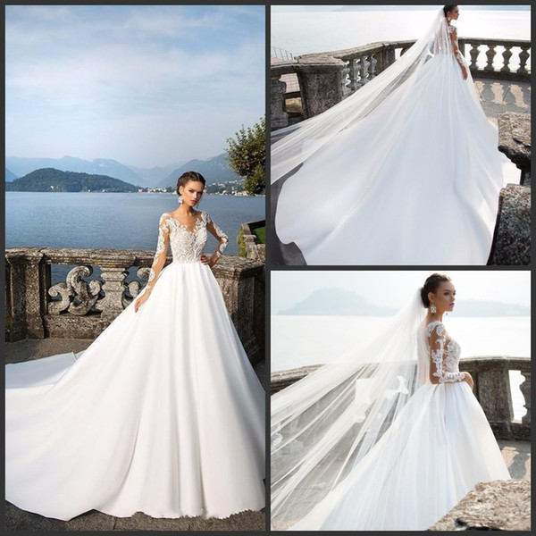2019 New Milla Nova Long Sleeve Satin Wedding Dresses Sheer Neck Lace Appliqued Beads Bridal Gowns Ball Gown Vestido De Noiva 2018