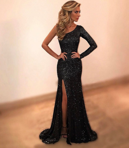 2018 sexy cheap plus size arabic prom dresses one shoulder long sleeves formal evening gowns mermaid dress sequin black prom dresses