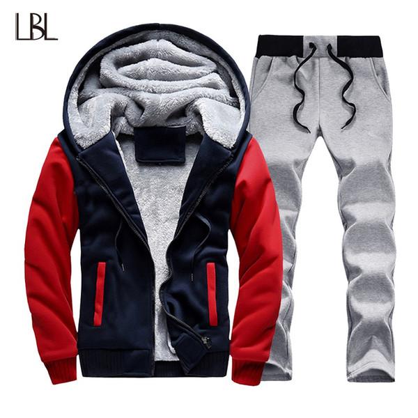 Winter Thick Hoodie Men Set Casual Warm Mens Tracksuit Outwear Hip Hop Men's Hoody Coat Sweat Suits Jacket + Sweatpants Sets XXL