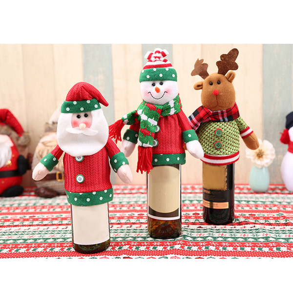 Christmas Decorations for Home Santa Claus Beer Wine Bottle Cover Xmas Noel Merry Christmas Ornaments Natal New Year Decoration
