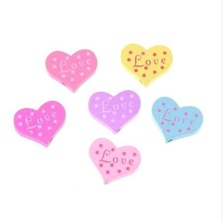 20pcs Wood Beads Love Heart Styles Beading Wood Beads Toys For Baby DIY Crafts Kids Toys & Pacifier Clip 23x19mm F1363