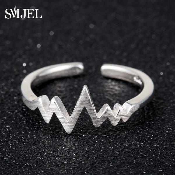 SMJEL Tiny Kpop Heartbeat Electrocardiogram Ring Women Anel EKG Rings Jewelry Birthday Gift for Nurse Valentine's Day SYJZ129