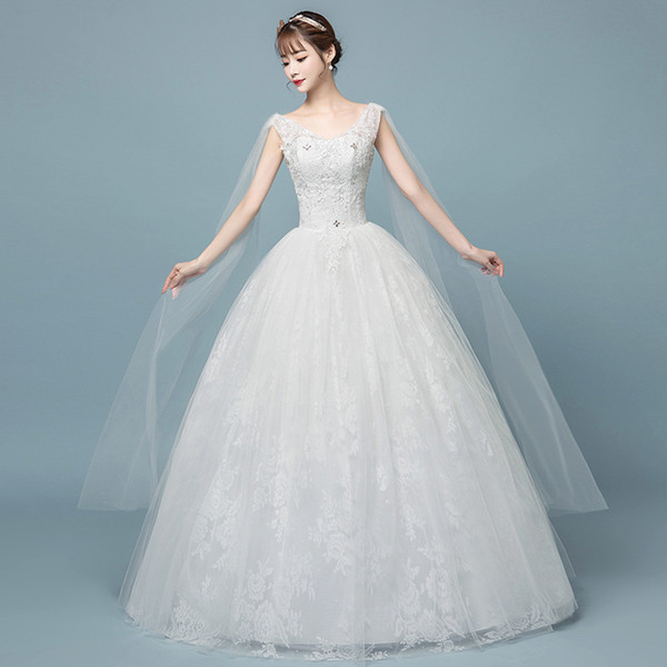 Factory Outlet Elegant Women Lace Wedding Dress A line V Neck Emboridery Flower Plus Size Wedding Dress Bridal Ball Gown floor length W55
