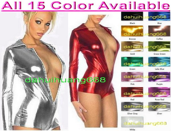 Sexy Women Short Body Suit Costumes New 15 Color Shiny Lycra Metallic Short Suit Catsuit Costumes Front Zip Halloween Party Costumes DH057