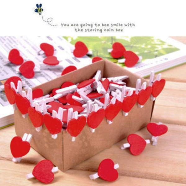 20pcs nuovi accessori per ufficio carino mini clip a forma di cuore rosso amante clip di legno